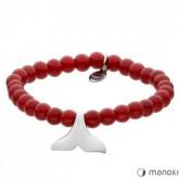 BA432C czerwona bransoletka damska z jadeitu