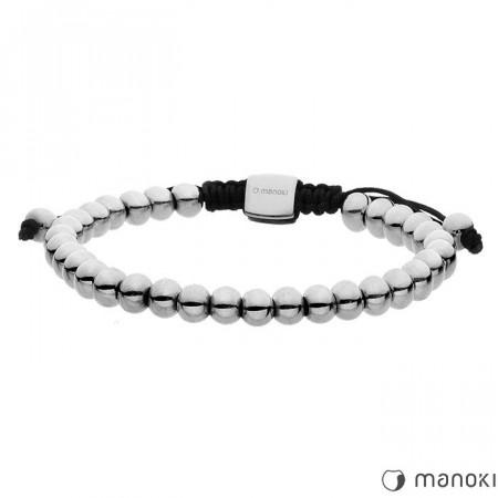 BA451 bransoletka damska z drobnych, stalowych kuleczek, kolor srebrny