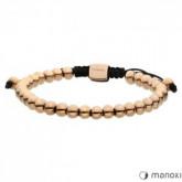 BA451R bransoletka damska z małych, stalowych kuleczek, różowe złoto