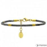 BA452G szaro-złota bransoletka damska z kamieni naturalnych