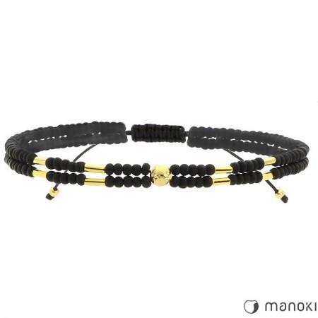 BA455 czarna bransoletka damska z kamieni naturalnych, złote ozdoby