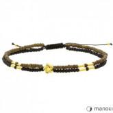 BA459 damska bransoletka podwójna czarno-brązowa ze złotymi elementami