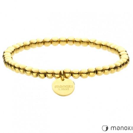 BA466G piękna bransoletka damska z małych kuleczek, kolor złoty