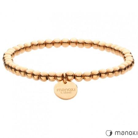 BA466R damska bransoletka z małych kuleczek, różowe złoto