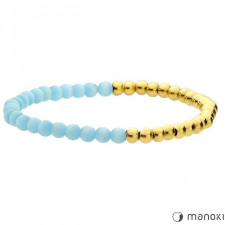 BA468GN złoto-niebieska bransoletka damska z kamieni naturalnych i stali szlachetnej