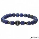 BA493J niebieska bransoletka męska z kamieni naturalnych, krzyżyk