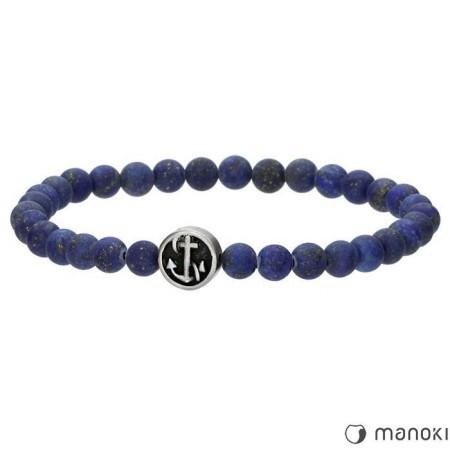 BA495J niebieska bransoletka męska z naturalnego kamienia, kotwica