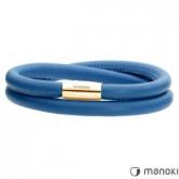 BA511GN niebieska bransoletka damska ze skóry