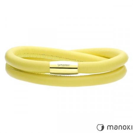 BA511GPY żółta bransoletka damska ze skóry naturalnej