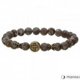 BA512GA brązowa bransoletka męska z naturalnych kamieni, krzyżyk