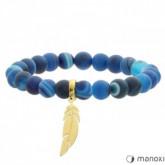 BA514GN niebieska bransoletka damska z agatu, złote piórko