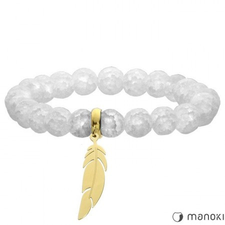 BA514GW biała bransoletka damska z kwarcu, złote piórko