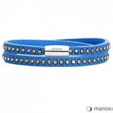 BA531SN damska bransoletka ze skóry z kryształami Swarovskiego, niebieska