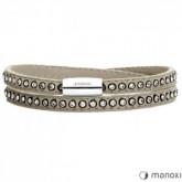BA531SS damska bransoletka ze skóry z kryształami Swarovskiego, szara