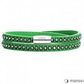 BA531SZ damska bransoletka ze skóry z kryształami Swarovskiego, zielona