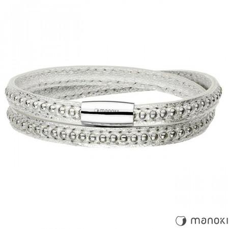 BA535SS oryginalna skórzana bransoletka damska w kolorze srebrnym