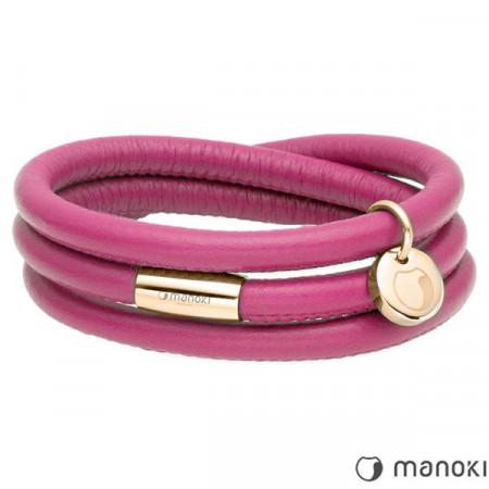 BA541GP różowa bransoletka damska skórzana