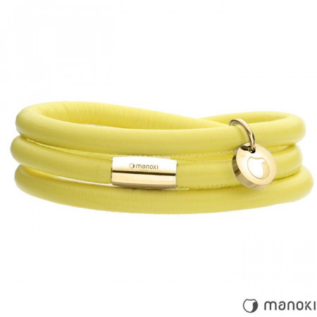 BA541GPY żółta bransoletka damska ze skóry
