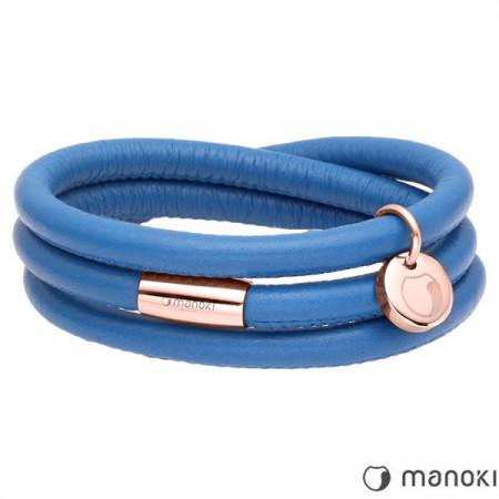 BA542RN niebieska bransoletka damska ze skóry