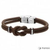 BA578A minimalistyczna bransoletka męska z brązowego sznurka