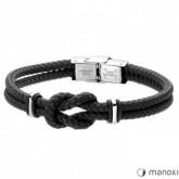 BA578B minimalistyczna bransoletka męska z czarnego sznurka