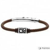 BA582A brązowa bransoletka męska ze sznurka, beads z gwiazdkami