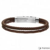 BA588A brązowa bransoletka męska ze sznurka i rzemienia naturalnego