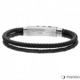 BA588B czarna bransoletka męska ze sznurka i rzemienia naturalnego