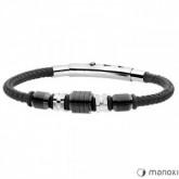 BA594B czarna bransoletka męska z sznurka i stali szlachetnej