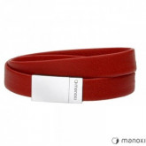 BA595C czerwona bransoletka damska ze skóry