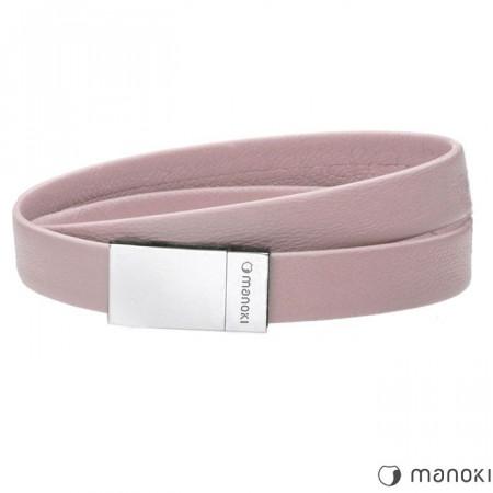 BA595P różowa bransoletka damska skórzana