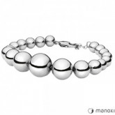 BA617 srebrna bransoletka damska ze stalowych koralików