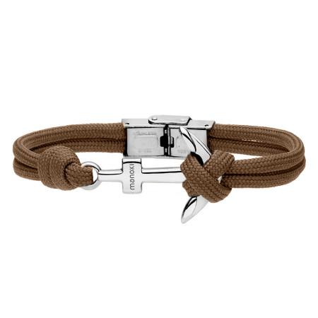 BA628A brązowa bransoletka ze stalową kotwicą