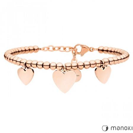 BA635R piękna bransoletka damska z serduszkami, różowe złoto