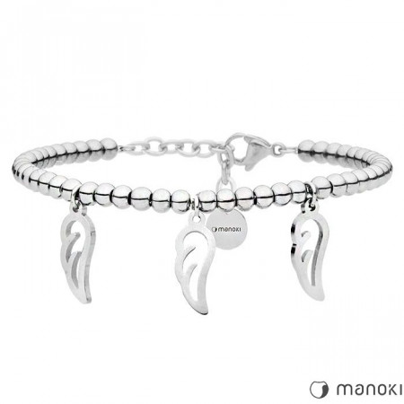 BA636 srebrna bransoletka damska z piórkami