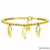BA636G złota bransoletka damska z piórkami