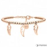 BA636R damska bransoletka z piórkami, różowe złoto
