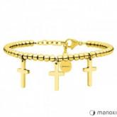 BA638G złota bransoletka damska z krzyżykami