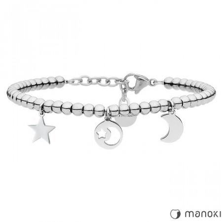 BA640 srebrna bransoletka z motywem księżyca i gwiazd