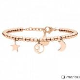 BA640R bransoletka w kolorze różowego złota, księżyc i gwiazdy