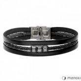 BA655B czarna bransoletka męska