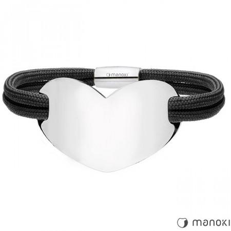 BA700B czarna bransoletka damska HEART