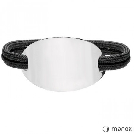 BA701B czarna bransoletka damska OVAL
