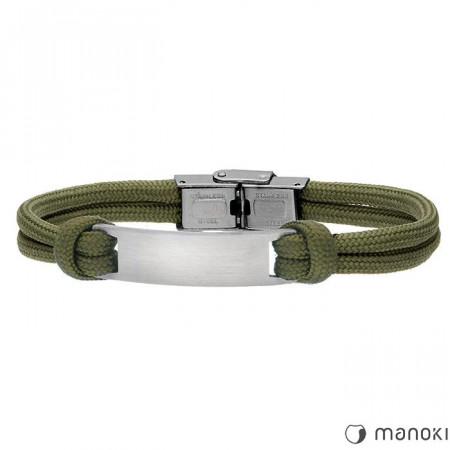 BA702Z bransoletka męska z blaszką pod grawer, wojskowa zieleń