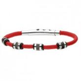 BA703C czerwona, męska bransoletka ze sznurka