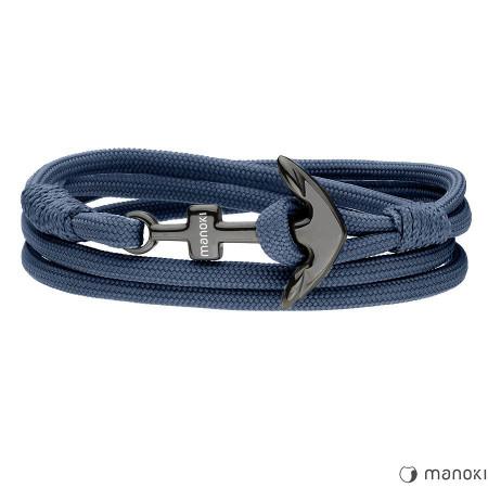 BA708BN niebieska męska bransoletka z kotwicą