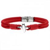 BA754C czerwona bransoletka męska z symbolem X