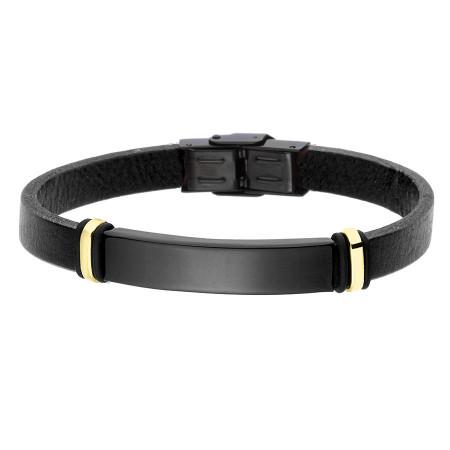 BA757B bransoletka czarna ze złotym elementem