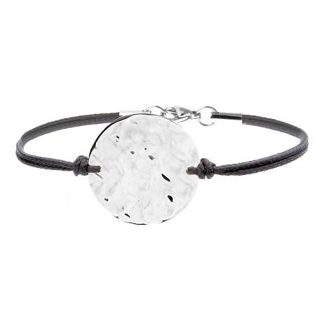 BA767 bransoletka z młotkowanym medalionem kolor srebrny