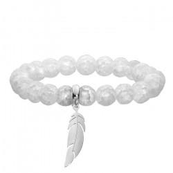Biała bransoletka damska z kwarcu, stalowe piórko